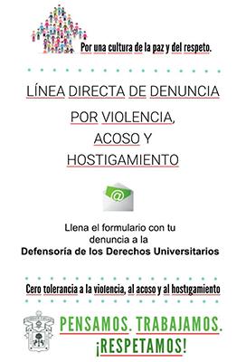Linea directa de denuncia por violencia, acoso y hostigamiento
