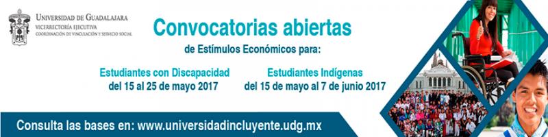 Enlace a Convocatoria de Estímulos Económicos para estudiantes con Discapacidad y Estudiantes Indígenas